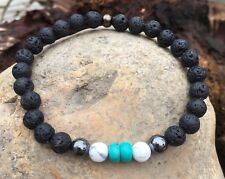 HANDMADE Lava Stone Essential Oil Aromatherapy Diffuser Bracelet with TURQUOISE