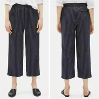 Eileen Fisher Women's Size Large Woven Tencel Grain Stripe Pants Navy Blue NEW