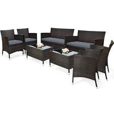 Costway 8Pcs Rattan Patio Furniture Set Cushioned Sofa Chair Coffee Table Grey