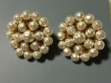 Pearl Large Clip On Earrings Vintage Signed Miriam Haskell Faux Baroque