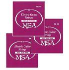 DREI SATZ E-Gitarrensaiten - MSA Markenqualität -Stahlsaiten Stärke 010-046 SK50