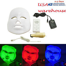 LED Red Blue Green 3 Color Light Facial Mask Skin Rejuvenation Therapy Device US