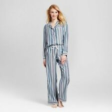 Gilligan & O'Malley Pajama Set Long Sleeve Button Down Top Pants Medium Striped