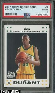 2007-08 Topps #2 Kevin Durant Seattle Supersonics RC Rookie PSA 9 MINT