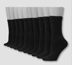 Hanes Womens Cool Comfort® Crew Socks Size 5-9 Med Black 10-Pair Open Pkg. B38