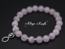 Rose Quartz Natural Gemstone Beaded Bracelet with Infinity charm