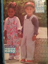 Easy OOP BUTTERICK 6464 Childrens Jumpsuit or Overalls & Top PATTERN 4-5-6 unuse