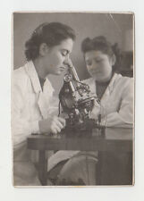 Young Lady Woman Studdy Examining on Old Microscope Vintage 1940s Photo