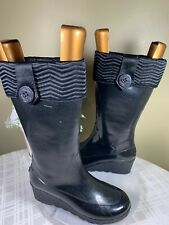 Sperry Top Sider Wedge Boots Rubber Weather Womens Black Waterproof Lined Sz 9M