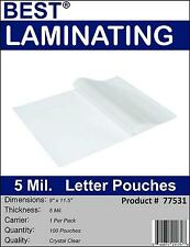 Best Brand 5 Mil Clear Letter Size Thermal Laminating Pouches 9 X 11.5 Qty 1000