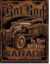 In Rust We Trust Rat Rods Hot Rod Muscle Car Garage Retro Wall Decor Metal Sign