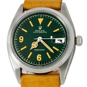 Rolex Precision Oysterdate Explorer Dial Hulk Green Winding Date Men Watch