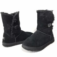 Ugg Australia Bailey Button Womens 7 Black Suede Boots Sheepskin Lined 5803