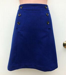 DAVID LAWRENCE Colbolt Blue Wool Blend Button Detail A-Line Pockets Skirt sz 10