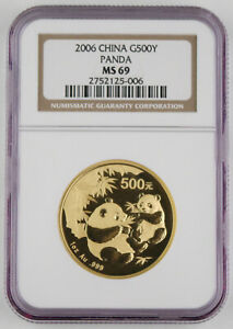 2006 China 500 Yuan 1 Oz 999 Gold Chinese Panda Coin NGC MS69 GEM BU+