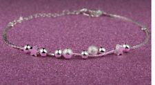 925 STERLING SILVER PLATED DOUBLE STRAND STAR, BALL BEAD BRACELET 7.5''