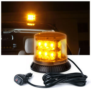 18 LED Round Rooftop Magnetic Strobe Lights Emergency Beacon Light Amber