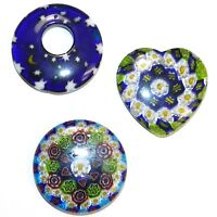 P2725ff Assorted Size, Shape & Color Millefiori Glass Pendant Focal Beads 3pc