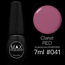 MAX 7ml Nail Art Color UV LED Lamp Soak Off Gel Polish #041-Claret Red