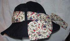 BARBOUR Solid Blue NWT Bucket Brim Hat Multi Color Flower Sash Medium M Maroon