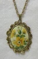 Vintage Gold Tone Painted Porcelain Mirror Pendant Necklace