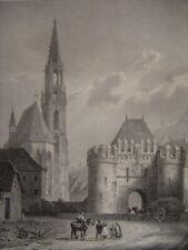 Grande lithographie de la Porte et de l'Eglise de THANN par Engelmann c1830