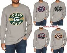 NFL NHL Team Long Sleeves Football Waffle Distressed Tee Jersey Vintage Apparel