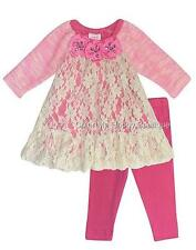 New Girls Boutique Peaches n Cream sz 0-3m Pink Lace Jewel Flower Dress Outfit
