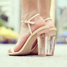 ZARA Perspex Nude Clear Heel Sandals Leather Strappy Heels UK 8 Euro 41