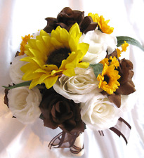 17 piece Package Wedding Bouquet Bridal set Silk flower BROWN YELLOW SUNFLOWER