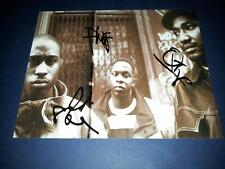 """A TRIBE CALLED QUEST X3 SIGNED 10""""X8"""" REPRO PHOTO PP HIPHOP RAP Q TIP PHIFE DAWG"""