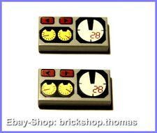 Lego 2 x Fliesen Kachel Armaturen Tacho (1 x 2) - 3069bpx19-71 - Tile - NEU/NEW