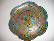 Antique Chinese  plique a jour enamel flowers plate