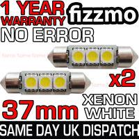 2x 37mm NUMBER PLATE INTERIOR 6000k BRIGHT WHITE 3 SMD LED C5W FESTOON BULB L@@K