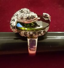 LARGE BOA CONSTRICTER PYTHON SNAKE RING WITH OLIVE GREEN STONE SIZE 8