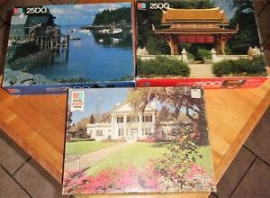 3 Milton Bradley 2500pc Puzzles -Southern Grandeur -Siamese Temple New Harbor ME