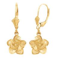 Solid 10k/14k Yellow Gold Flower Rose Diamond Cut Leverback Earrings Set