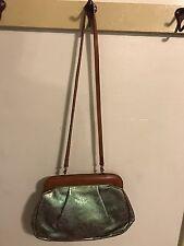 AUTH Furla Leather Handbag Blue Green Snaps Shoulder