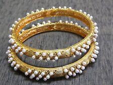 2 Designer Filigree Pattern Pearl Polki Bangle Bracelet Bridal Jewelry 2.4 NR