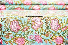 10 Yard Floral Indian Cotton Fabric Dressmaking Sewing Hand Block Print Fabric