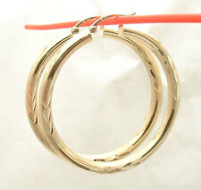 """4mm X 45mm 1 3/4"""" Large Diamond Cut Round Hoop Earrings REAL 14K Yellow Gold"""