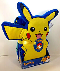 "NEW Nintendo Pokemon PIKACHU 40"" x 50"" Silky Soft THROW BLANKET & PILLOW Plush"