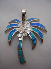 PALM TREE PENDANT WITH OPALS AND CUBIC ZIRCONIA SET IN STERLING SILVER