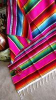 """Mexican Serape Blanket Pink,Fuchsia and Rainbow Striped EXTRA LARGE 84"""" X 60"""""""