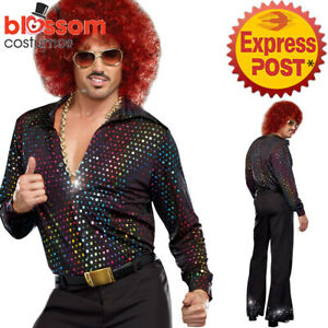 K385 Mens Disco Costume + Wig 1960s Fancy Dress Up Retro 1970s Hippie Outfit