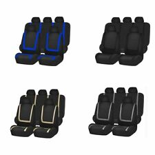 9PCS Car Seat Covers Full Set Faux Leather Split Airbag Rear Seats black AZ