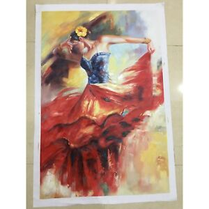 """100% Hand Painted Portrait Oil Painting on Canvas/""""Spanish dancer""""24×36inch"""