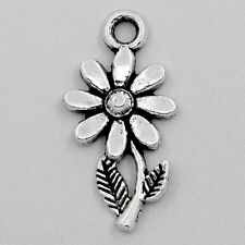 "100PCs Charm Pendants Sunflower Silver Tone 19mmx10mm(6/8""x3/8"") GIFTS"