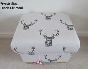 Storage Footstool Fryetts Stag Head Fabric Grey Charcoal Pouffe Footstall Stags