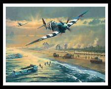 "10 x 8"" JUNO BEACH SPITFIRE RAF ROYAL AIR FORCE AEROPLANE METAL PLAQUE SIGN 197"